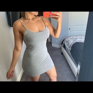 Grey summer mini dress open back